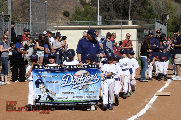 The Dodgers marched in eager to begin the season (Photo by Ross A. Benson)