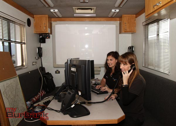 Burbank Police Dispatch Supervisors Janet Brown and Fay Martin work from the Burbank Police & Fire Command Post. (Photo by Ross A. Benson)