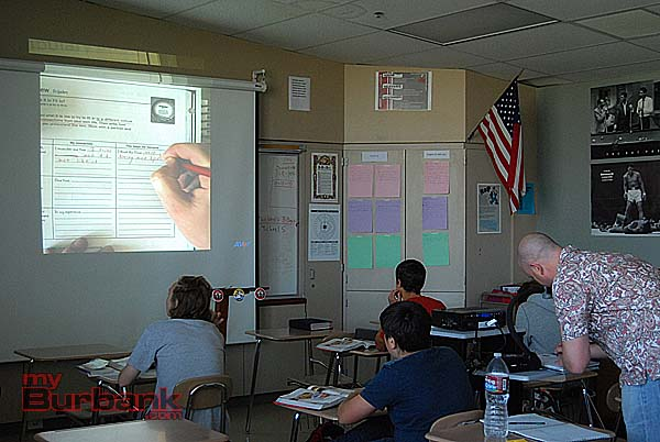 Burroughs teacher Kevin Hiatt uses the Aver document camera daily. (Photo By Lisa Paredes)