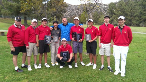 DeBell's 50th Annual High School Invitational team winners from La Canada High School, along with tourney head Joaquin Herbozo (in center wearing blue) and Low Overall winner Josh Suh (holding 2 plaques.) (Photo Courtesy DeBell Golf Club)