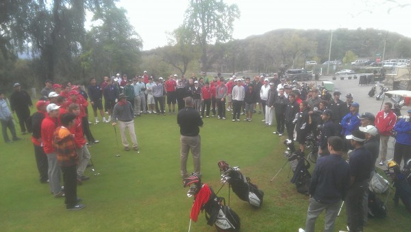 DeBell's Joaquin Herbozo addresses the high school teams at the early-morning tourney start. (Photo Courtesy DeBell Golf Club)