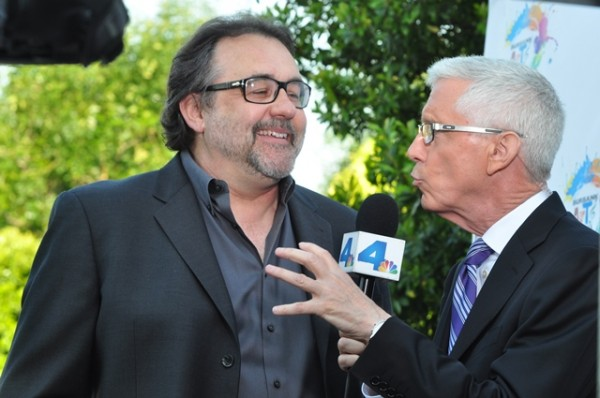 Master of Ceremonies Fritz Coleman and Honorary Chair Don Hahn at Party on the Plaza 2012. (Photo Courtesy of Burbank Arts For All)