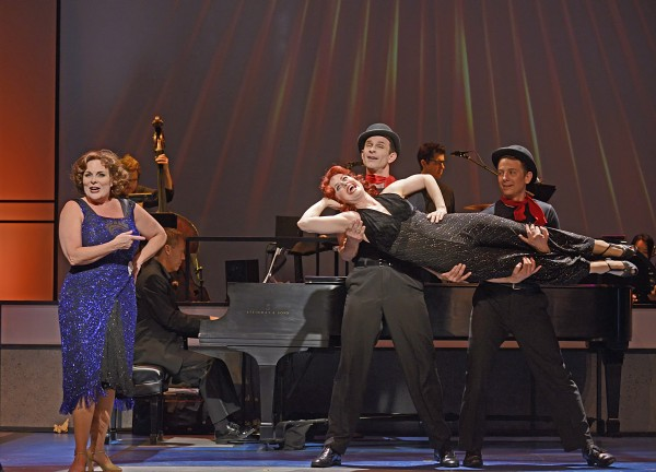 """Rebecca Spencer, Rebecca Ann Johnson (being held), Damon Kirsche and Jeff Skowron star in Musical Theatre West's West Coast Premiere production of """"S'WONDERFUL,"""" created and directed by Ray Roderick and now playing at the Carpenter Center for the Performing Arts in Long Beach.  (Caught in the Moment Photography)"""