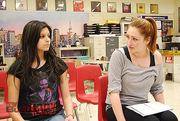 "Junior Samantha Rubin and senior Cassidy Boland draw each other out in ""Our Town."" (Photo By Lisa Paredes)"