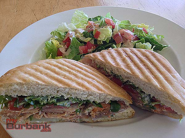 Salmon sandwich with a fresh side salad at Urban Eats. (Photo By Lisa Paredes)