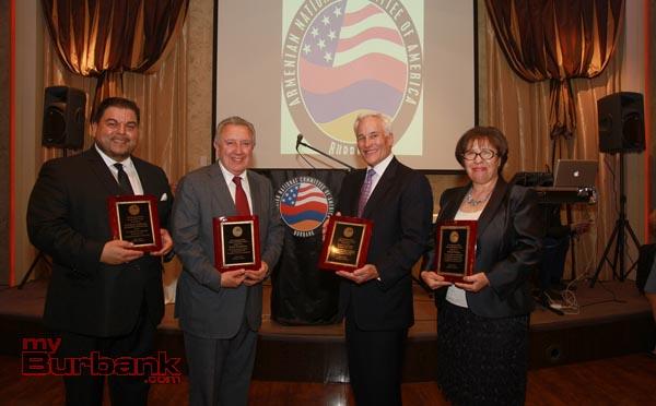 L/R Dr Armond Aghakhanian, Berdj Karapetian, Scott LaChasse,Ani Berberian. (Photo by Ross A. Benson)