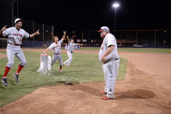 Burroughs coach Craig Sherwood gets doused with ice water after the game (Photo courtesy of Mitch Haddad)