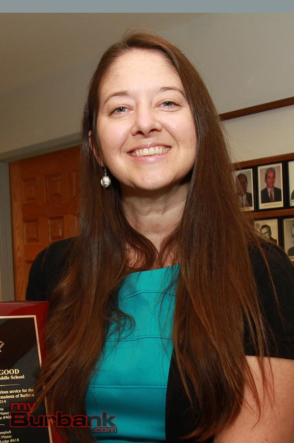 Heather Good is recognized as 2014 Teacher of the Year at the Masonic Lodge in Burbank. (Photo By Ross A. Benson)