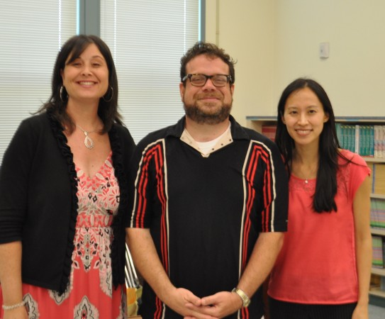 Providencia Elementary Principal Jennifer Culbertson, Christophe Beck, ETM_LA Executive Director Victoria Lanier at the special assembly. (Photo Courtesy of Education Through Music - LA)