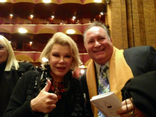 Joan Rivers with Cesar Ulloa, Julie Adams' teacher, in the audience at the Metropolitan Opera. (Photo Courtesy of the Adams Family)
