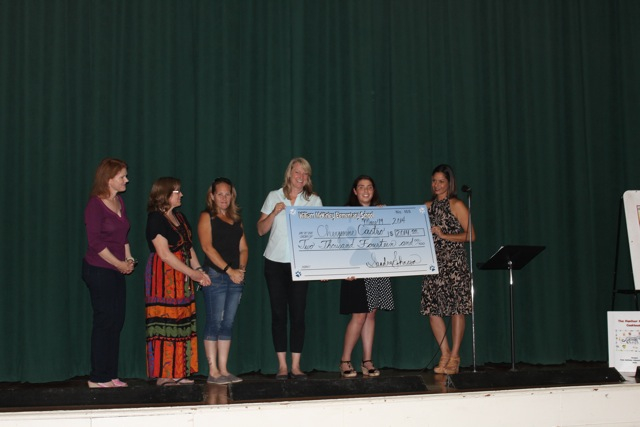 "Cheyenne Castro receives the ""Big Check"" from the application review committee: (left to right) Shari Wendt, Cherie Wescott, Tiffany Nelson, Jenny Harris, Cheyenne Castro, Sandra Johnson) (Photo Courtesy of McKinley Alumni Scholarship Committee)"
