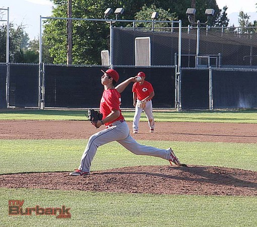 Burroughs pitcher Danny Bustos has been strong in the early part of the summer (Photo by Dick Dornan)