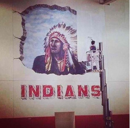 The old Indian was painted over in favor of a new design recommended by a school committee