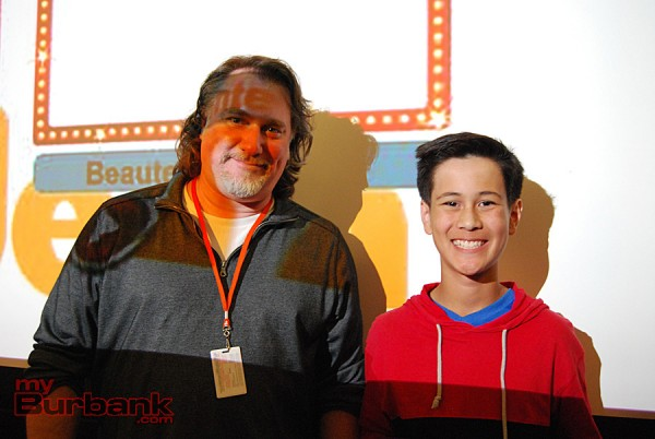 """Nickelodeon mentor Allan Jacobsen (Animation Director, Dora and Friends) advised freshman Jacob Sugars as he created """"Curry In A Hurry."""" (Photo By Lisa Paredes)"""