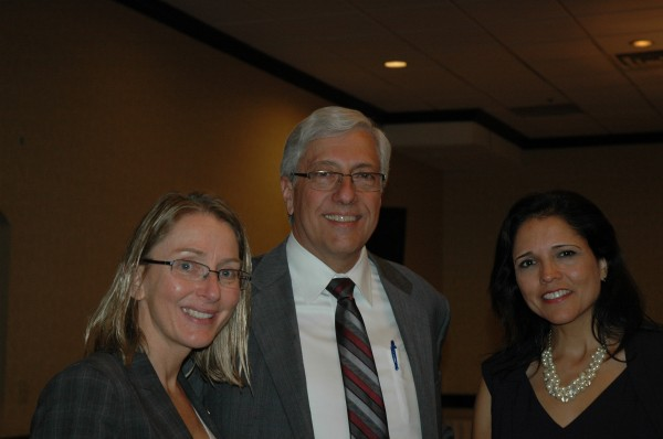 Michelle Boehm, left, Southern California regional director with the California High-Speed Rail Authority, talks with Burbank City Manager Mark Scott and Katherine Perez-Estolano, authority board member. (photo by Joyce Rudolph)