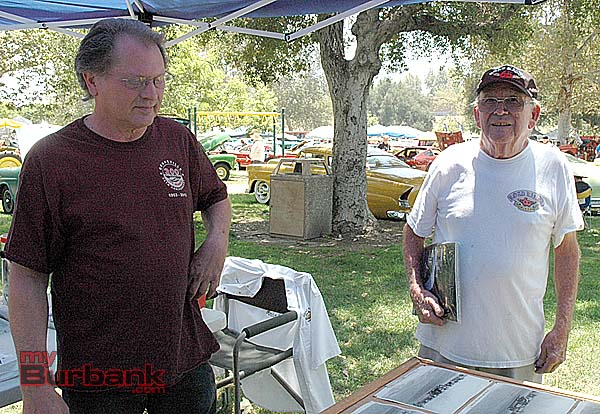 Racing legends Mark Lingua, left, and Jim Miles attend the Road Kings car show at Johnny Carson Park on Sunday. (Photo by Joyce Rudolph)