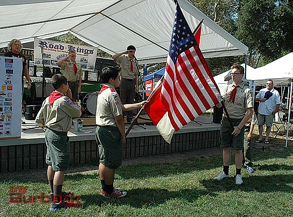 Boy Scouts perform presentation of the colors during the opening ceremonies of the Road Kings  Car Show and Picnic in the Park. (photo by Joyce Rudolph)