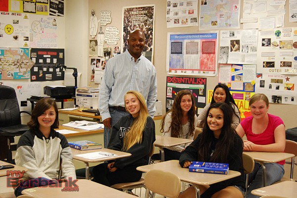 Burbank High School teacher Marcus Turner with students in Options For Youth's Summer Program at BHS.  (Photo By Lisa Paredes)