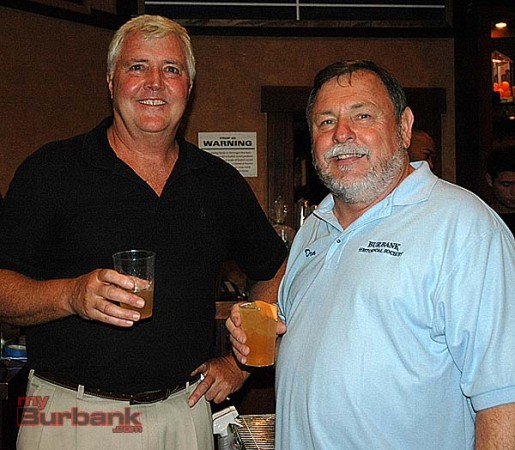 Story Tavern owner Ted Slaught, left, with Burbank Historical Society board member Don Baldaseroni. (Photo by Joyce Rudolph)