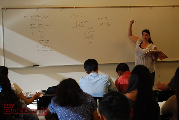 Burroughs math teacher Jessica Barcellano goes over concepts in PreCalculus. (Photo By Lisa Paredes)