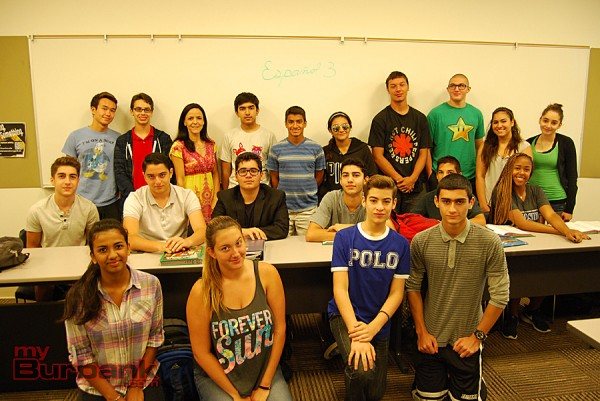 Burroughs teacher Carolina Almanzar and her class learn Spanish 3. (Photo By Lisa Paredes)