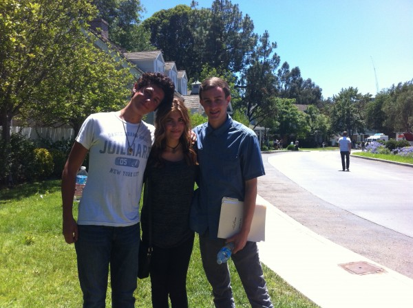 Brennan Flynn, Avan Shirwani and Joe Molinari take a break from filming on the Universal Studios back lot. (Photo Courtesy of Young Storytellers Foundation)