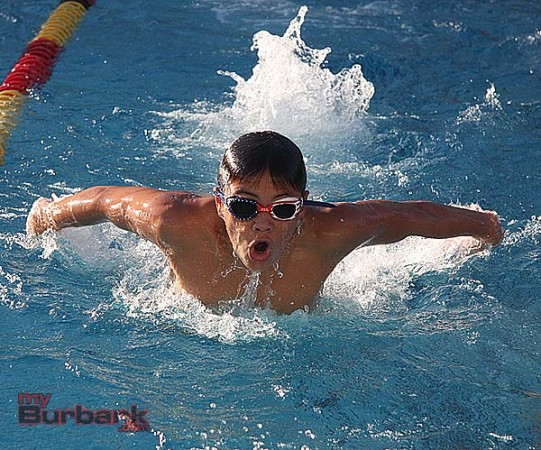 Ian Flinchbaugh, in the butterfly, and BLAST are swimming full force in the right direction (Photo by Dick Dornan)