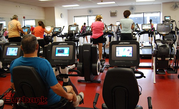 New equipment in the cardio room is very popular at the Burbank YMCA. (Photo By Lisa Paredes)