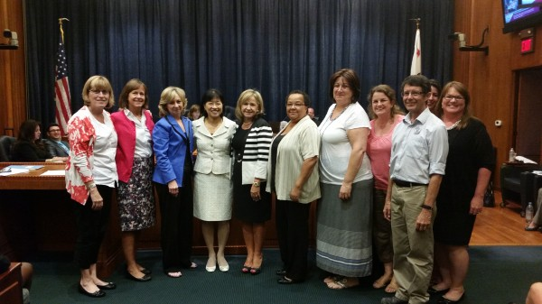 Joaquin Miller Elementary and Burbank Unified celebrate recognition as a 2014 California Distinguished School and for Exemplary Arts Education. From left to right: Joan Becker, Marilyn Snook, Board of Education President Dr. Roberta Reynolds, Miller Principal Judy Hession, Superintendent Dr. Jan Britz, Debra Gaskin, Debbie Winstein, Susan Kienlen, John Ossiff, Allison Martinez, and Molly Hwang. (Photo Courtesy of Burbank Unified School District)