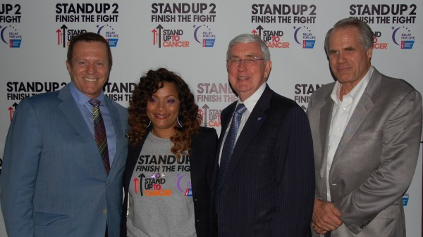 From left to right): David Veneziano, EVP, American Cancer Society; Simone Smith, entrepreneur and jewelry designer; John Seffrin, CEO, American Cancer Society; Chris Hansen, president, American Cancer Society Cancer Action Network. (Photo Courtesy of Katherine Row, American Cancer Society)