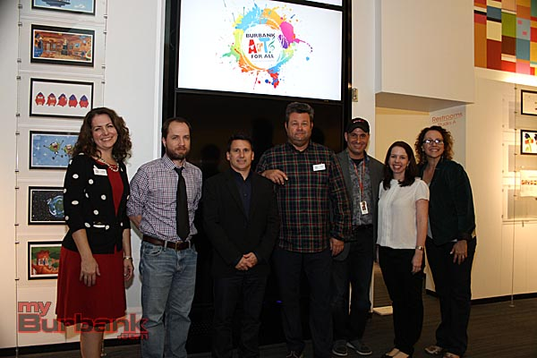 Burbank Arts For All Foundation representatives flank Nickelodeon's animation panel. From left to right: Carrie Brown (BAFA), Chris Savino, Rich Magallanes, Carson Smith, David Steinberg, Jill Stewart Sanford and Trena Pitchford (BAFA) (Photo By Ross A. Benson)