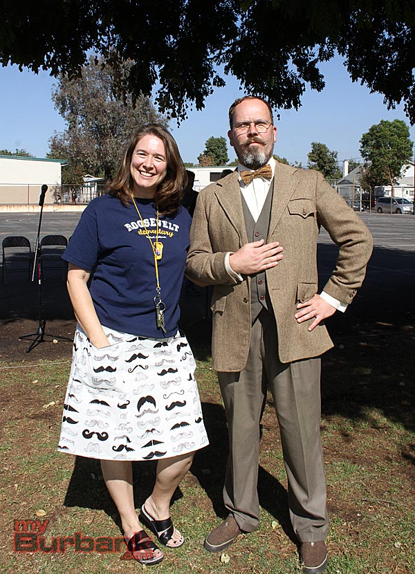 Roosevelt Elementary Principal Dr. Jennifer Meglemre and teacher John Pike dressed as Teddy Roosevelt celebrate the birthday of school's namesake. (Photo by Ross A. Benson)