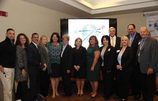 Eric Simkin (mOcean), Carrie Brown (BAFA), John Paramo (BUSD), Zita Lefebvre (Cartoon Network), Peggy Flynn (BUSD), Lisa Rawlins (Warner Bros.), Superintendent Dr. Jan Britz (BUSD), Charlene Tabet (Board of Education), Sharon Cuseo (BUSD), Burbank City Manager Mark Scott, Kimberley Clark (BUSD), Burbank Mayor Dr. David Gordon and Dave Kemp (Board of Education) celebrate the kick off of the Verdugo Creative Technologies Consortium.(Photo by Ross A. Benson)