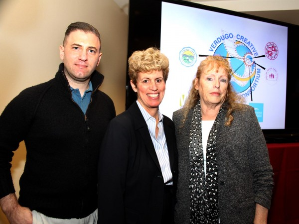 Eric Simkin of mOcean, Lisa Rawlin of Warner Bros. Studios and Zita Lefebvre of Cartoon Network partner with Burbank Unified School District to develop tech and arts savvy classes. (Photo by Ross A. Benson)