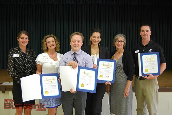 Alexis Miller from Assemblyman Mike Gatto's office presented certificates to camp organizations providing services for Burbank Coordinating Council Camperships, including Heather Olson (Golden State Gymnastics Program Director), Bryan Snodgrass (YMCA Director Summer Camp), Grace Coronado (Burbank Parks and Recreation Services), Shelly Mutch (Forest Home Special Projects Coordinator) and Sam Albrecht (YMCA Director of Camping Services.) (Photo By Lisa Paredes)