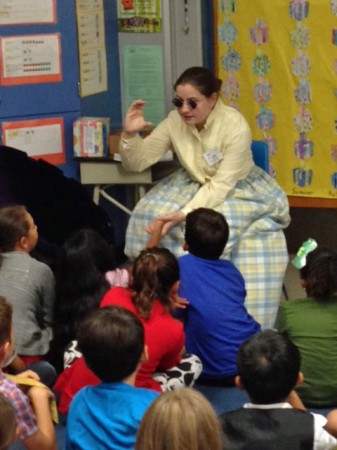 Burroughs sophomore Maddie Seiffert portrays Anne Sullivan, Helen Keller's teacher, for the Time Travelers program at Bret Harte Elementary. (Photo Courtesy of Lisa Dyson)