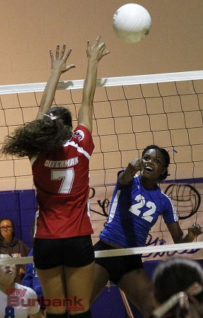 Burbank's Rose Cowart, #22, slams a ball home for a point (Photo by Edward Tovmassian)