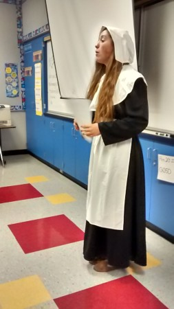 Burroughs senior Tenley Patterson brings pilgrim Sarah Goodson to life for the Time Travelers program at Bret Harte Elementary. (Photo Courtesy of Lisa Dyson)