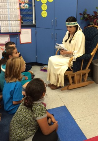 Burrough senior Samantha Rubin portrays Sacagewea for Bret Harte Elementary students. (Photo Courtesy of Lisa Dyson)