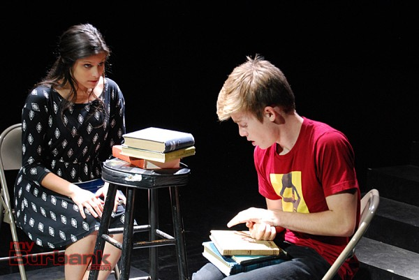 "Samantha Rubin portrays teacher Alice Kinnian in JBHS Drama's ""Flowers For Algernon"" and Nick Apostolina portrays Charlie Gordon. (Photo By Lisa Paredes)"