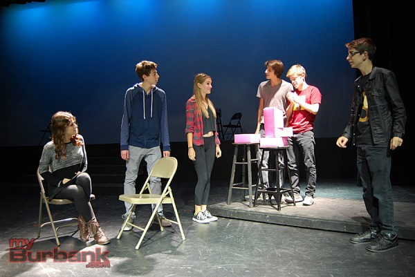 "(From left to right) Kyla MacDonald, Sully Zack, Emerson Orr, Alex Aston, Nick Apostolina and Matt Bond go over a scene from ""Flowers For Algernon."" (Photo By Lisa Paredes)"