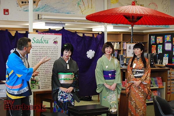 Muir teacher Ted DeVirgilis introduces Madame Akutagawa, Ms. Hosobuchi and their assistant at the beginning of the Japanese Tea Ceremony at the Japan Day festivities. (Photo By Lisa Paredes)