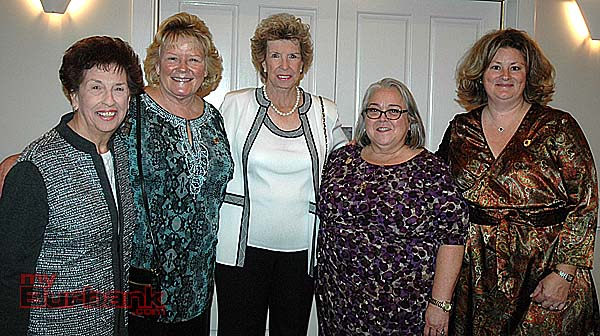 Burbank Woman of the Year past recipients attending Saturday's luncheon are, from left, Elaine Paonessa, Mary Alvord, T.J. Baptie, Barbara Howell and Shanna Warren. (Photo by Joyce Rudolph)