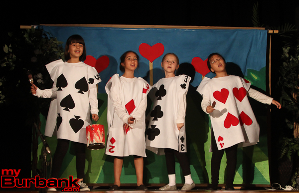 "The cards enact a scene in Miller Elementary's ""Alice in Wonderland."" (Photo by Ross A. Benson)"