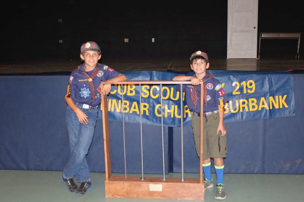 Spencer Solberg and Danny Roth with a manipulative they built for a Boy Scout project. (Photo Courtesy Caroline Solberg)