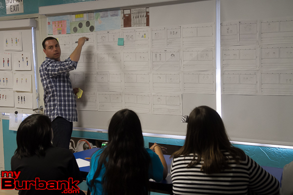 Mike Roth teaches elements of the animation process to kids at the Burbank Boys & Girls Club. (Photo by Ross A. Benson)