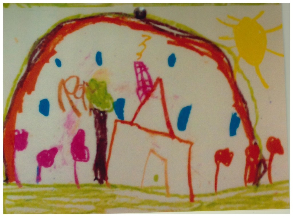 A youth in the art therapy class at Family Service Agency painted pictures of his house prior to his starting therapy         and after. The first picture had a black cloud hanging over it, the second picture, above, had the sun beaming on it,        indicating how happy he was now that he was away from his abuser. (courtesy of Family Service Agency)