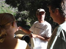 Burbank Sidewalk Astronomers' Bob Alborzian talks about the Dobsonian telescope. (Photo Courtesy of Burbank Sidewalk Astronomers)