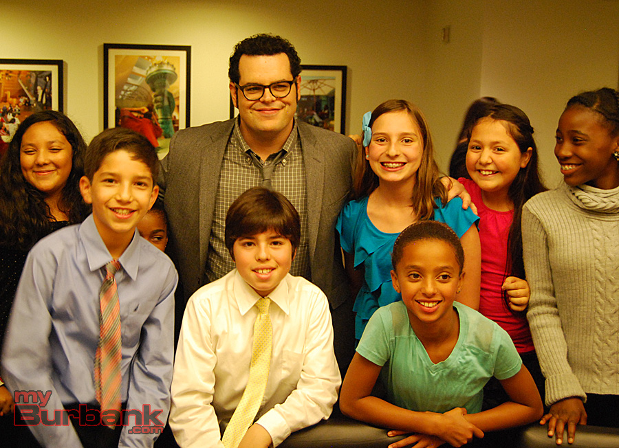Actor Josh Gad visited with the young performers in the green room ahead of the 2014 Education Through Music - LA gala. (Photo By Lisa Paredes)