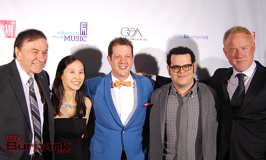 Shining Star honoree Richard M. Sherma, ETM-LA Executive Director Victoria Lanier, Michael Giacchino (ETM-LA Advisory Board), actor Josh Gad and John Debney (ETM-LA Honorary Chair) on the red carpet at the Education Through Music - LA gala. (Photo By Lisa Paredes)